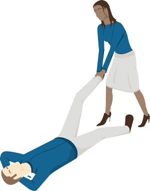 A staff member being dragged and dropped by another staff member