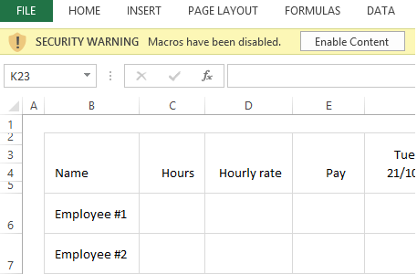 how to set up a rota on excel