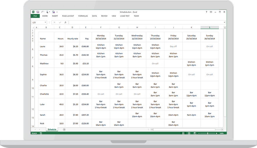 Download A Free Staff Rota Template For Excel 183 Findmyshift